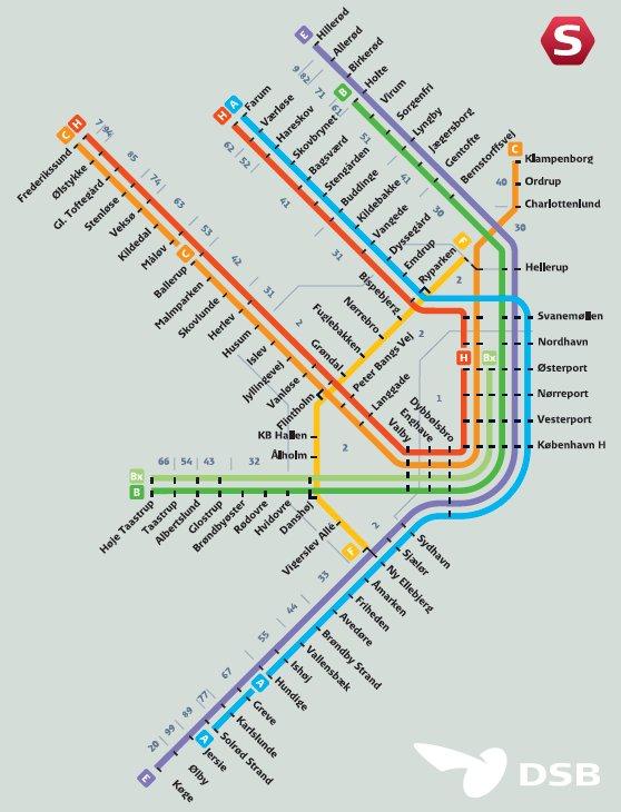 DSB S-tog: Rutekort